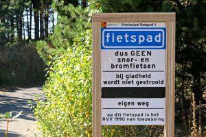 bord fietspad Berkheide Wassenaar