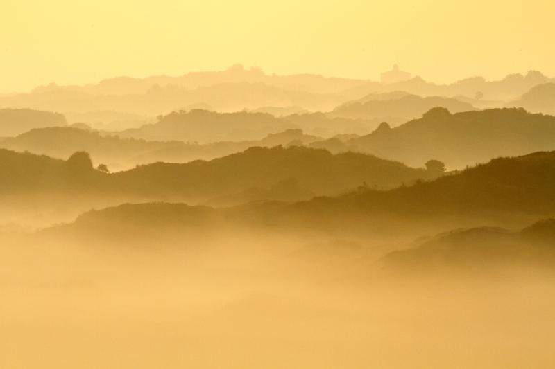 Berkheide kavel 5a ruggetjes ochtend nevel watertoren duinen