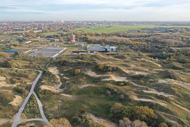 Berkheide drone luchtfoto kavel 9 bedrijfsterrein Pompstation Dunea